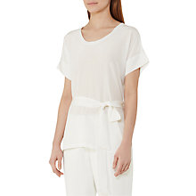 Buy Reiss Longline Silk Front Tie Blouse, Off White Online at johnlewis.com