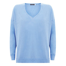 Buy Mint Velvet V-Neck Linen Side Split Jumper, Bluebell Online at johnlewis.com
