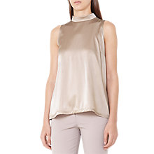 Buy Reiss Blaire High Neck Silk Front Top Online at johnlewis.com