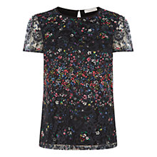 Buy Oasis Fading Daisy Lace Print T-Shirt, Black Online at johnlewis.com