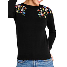 Buy Oasis Forget Me Not Embroidered Jumper, Black Online at johnlewis.com