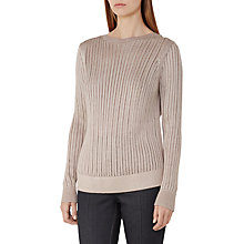 Buy Reiss Trudy Open Stitch Plated Jumper, Blush Online at johnlewis.com