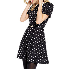 Buy Oasis Spot Print Collared Skater Dress, Black Online at johnlewis.com
