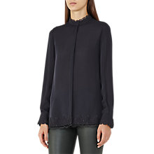 Buy Reiss Maya Lace Hem Long Sleeve Blouse, Night Navy Online at johnlewis.com