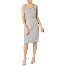 Buy Jacques Vert Petite Jacquard Dress, Silver Online at johnlewis.com