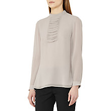 Buy Reiss Sabine Pleat Panel Silk Blouse, Light Grey Online at johnlewis.com