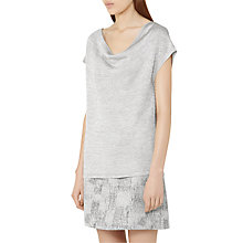 Buy Reiss Evadine Dropped Front Top, Pewter Online at johnlewis.com
