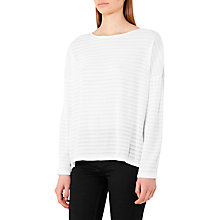 Buy Reiss Deanna Textured Long Sleeve Top, White Online at johnlewis.com