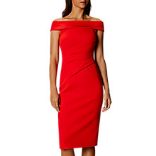 Buy Karen Millen Bardot Shoulder Pencil Dress, Red Online at johnlewis.com