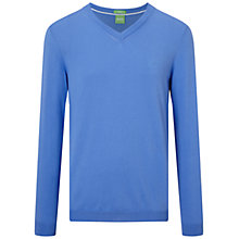 Buy BOSS Green C-Carlton V-Neck Jumper, Medium Blue Online at johnlewis.com