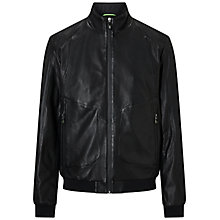 Buy BOSS Green Jesbo Leather Jacket, Black Online at johnlewis.com