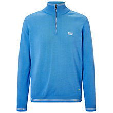Buy BOSS Green Zime Funnel Neck Jumper, Medium Blue Online at johnlewis.com