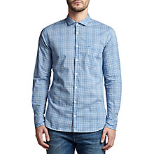 Buy BOSS Orange Cattitude Degrade Check Slim Fit Shirt, Open Blue Online at johnlewis.com