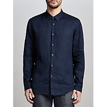 Buy BOSS Green C-Barbu Long Sleeve Linen Shirt, Navy Online at johnlewis.com