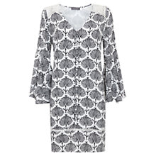 Buy Mint Velvet Nala Print Fluted Sleeve Peasant Dress, Black/White Online at johnlewis.com