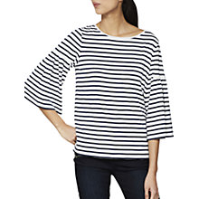 Buy Mint Velvet Fluted Sleeve Top, Stripe Online at johnlewis.com
