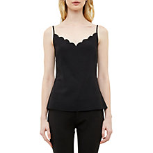 Buy Ted Baker Sina Scalloped Neckline Cami Top, Black Online at johnlewis.com