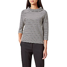 Buy Hobbs Coleta Stripe Top, Black/Ivory Online at johnlewis.com