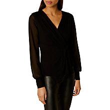 Buy Karen Millen Draped Wrap Front Top, Black Online at johnlewis.com