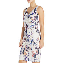 Buy Adrianna Papell Sleeveless Side Drape Sheath Dress, Ivory/Multi Online at johnlewis.com