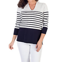 Buy Chesca Stripe V-Neck Jumper, Ivory/Navy Online at johnlewis.com