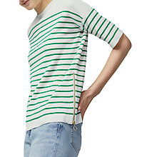 Buy Warehouse Stripe Zip Top, Green Online at johnlewis.com