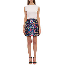 Buy Ted Baker Soonah Folk Foliage Pleated Skirt, Dark Blue Online at johnlewis.com