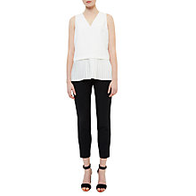 Buy Ted Baker Oriya Pleated Hem V-Neck Top, Ivory Online at johnlewis.com