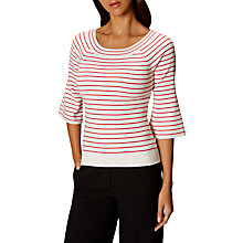 Buy Karen Millen Fine Stripe Jumper, Red/White Online at johnlewis.com