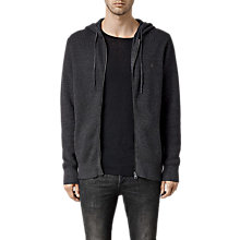 Buy AllSaints Trias Chunky Knit Cotton Hoodie, Cinder Black Marl Online at johnlewis.com