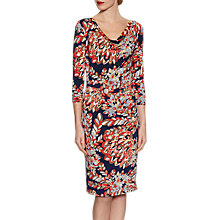 Buy Gina Bacconi Abstract Retro Leaf Print Jersey Dress, Navy Online at johnlewis.com