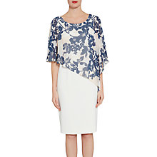 Buy Gina Bacconi Crepe Dress With Printed Chiffon Cape, Navy/Nude Online at johnlewis.com