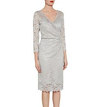 Buy Gina Bacconi Antique metallic Stretch Lace Dress, Silver Online at johnlewis.com