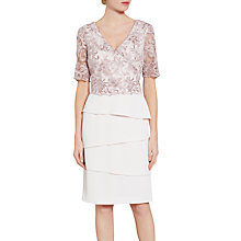 Buy Gina Bacconi Crepe Dress With Cord Embroidery Bodice, Nude Online at johnlewis.com
