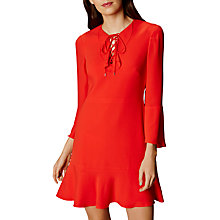 Buy Karen Millen Knot and Drape Mini Ruffle Dress, Cherry Online at johnlewis.com
