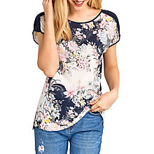 Buy Oasis Patched Lotus Print T-Shirt, Multi Online at johnlewis.com