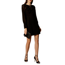 Buy Karen Millen Feminine Pleat Dress, Black Online at johnlewis.com