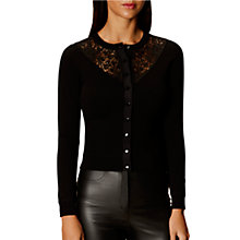 Buy Karen Millen Lace Yoke Cardigan, Black Online at johnlewis.com