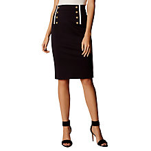 Buy Karen Millen Button Tailoring Skirt, Navy Online at johnlewis.com