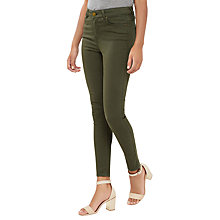 Buy Oasis Lily High Waisted Ankle Grazer Jeans, Khaki Online at johnlewis.com