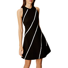 Buy Karen Millen Diagonal Stripe A-Line Dress, Black/White Online at johnlewis.com