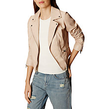 Buy Karen Millen Summer Leather Jacket, Nude Online at johnlewis.com