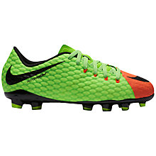 Buy Nike Children's HyperVenom Phelon III FG Football Boots, Multi Online at johnlewis.com
