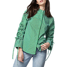 Buy Warehouse Striped Ruched Shirt, Bright Green Online at johnlewis.com