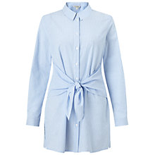 Buy Miss Selfridge Tie Front Stripe Shirt, Blue Online at johnlewis.com
