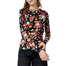 Buy Warehouse Woodstock Floral Print Jumper, Black Online at johnlewis.com