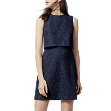Buy Warehouse bonded Lace Open Back Dress, Navy Online at johnlewis.com