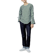 Buy Warehouse Gingham Ruched Sleeve Top, Dark Green Online at johnlewis.com