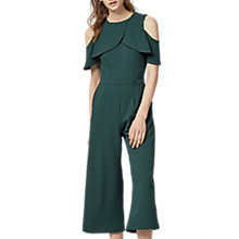 Buy Warehouse Crepe Overlay Jumpsuit, Dark Green Online at johnlewis.com