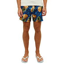 Buy Ted Baker Ontima Pineapple Print Swim Shorts, Blue Online at johnlewis.com